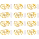 12 Pack Fairy Lights Battery Operated, 7Ft 20 LED Waterproof Mini Firefly Lights with Flexible Silver Wire for Wedding Center