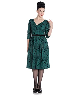 153882d68b Hell Bunny Sherwood 50s Velvet Flock Forest Animal Dress - UK 16 (XL)    Green  Amazon.co.uk  Clothing