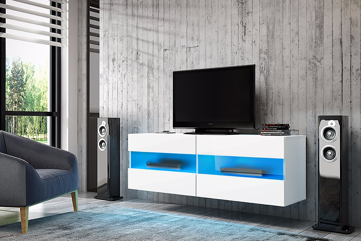 BRICO - Floating TV Cabinet/Hanging TV Stand Wall Unit (100 cm, Matte White/Gloss White Front Panels with LED Lighting) Selsey 5902622515670