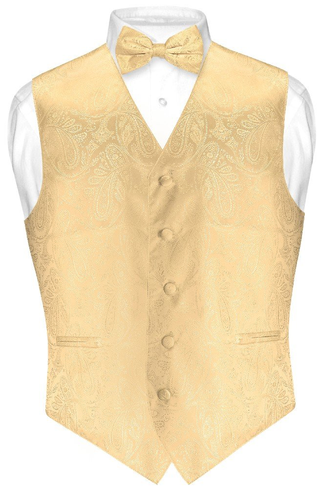 Vesuvio Napoli Men's Paisley Design Dress Vest & Bow Tie GOLD Color BOWTie Set sz Med