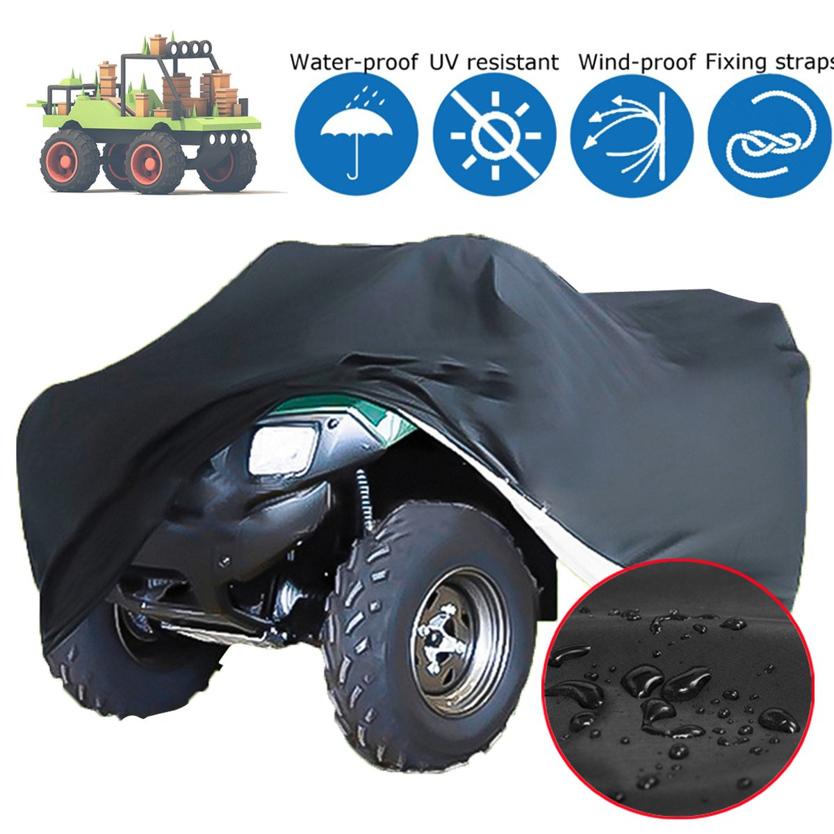 Essort Lawn Mower Cover, 170 x 61 x 117cm Waterproof Polyester Heavy Duty Universal Protection Hood Garage Lawn Tractor Cover for Most Lawn Mowers with Storage Bag, Black Universal