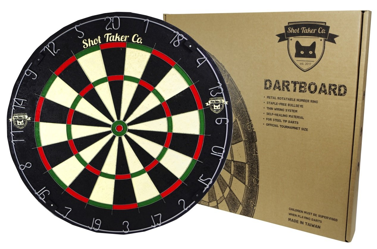 Professional Dartboard | for Steel Tip Darts | Staple-Free Bullseye | Thin Spider Blade Wire System | Natural Fibers Material for Self- Healing Ability | Movable Number Ring | Tournament Size 18''x1.5'' by Shot Taker Co.