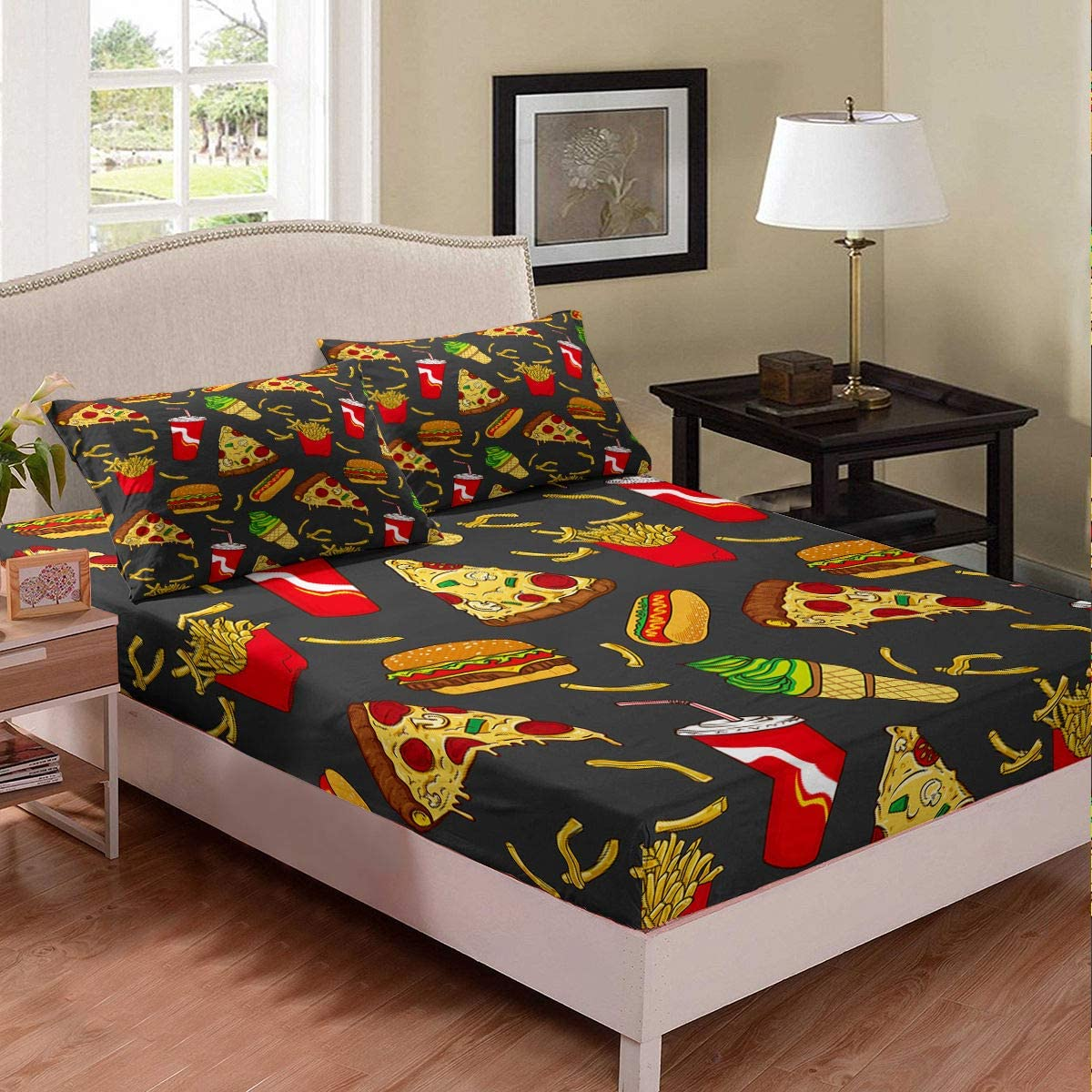 Cartoon Fast Food Sheet Set Pizza Bread Ice Cream Cola Burger Fries Bedding Set Summer Vacation Style Fitted Sheet Decorative Boys Girls Room Twin Size with 1 Pillow Sham Breathable Durable