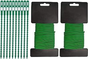 SPORBA Soft Rubber Garden Twist Ties, Garden Plant Tie Green Wire Tie Stretch Rubber Twine for Growth Plant Gardening Fruit Tree Home Office - 65.6ft (20m)