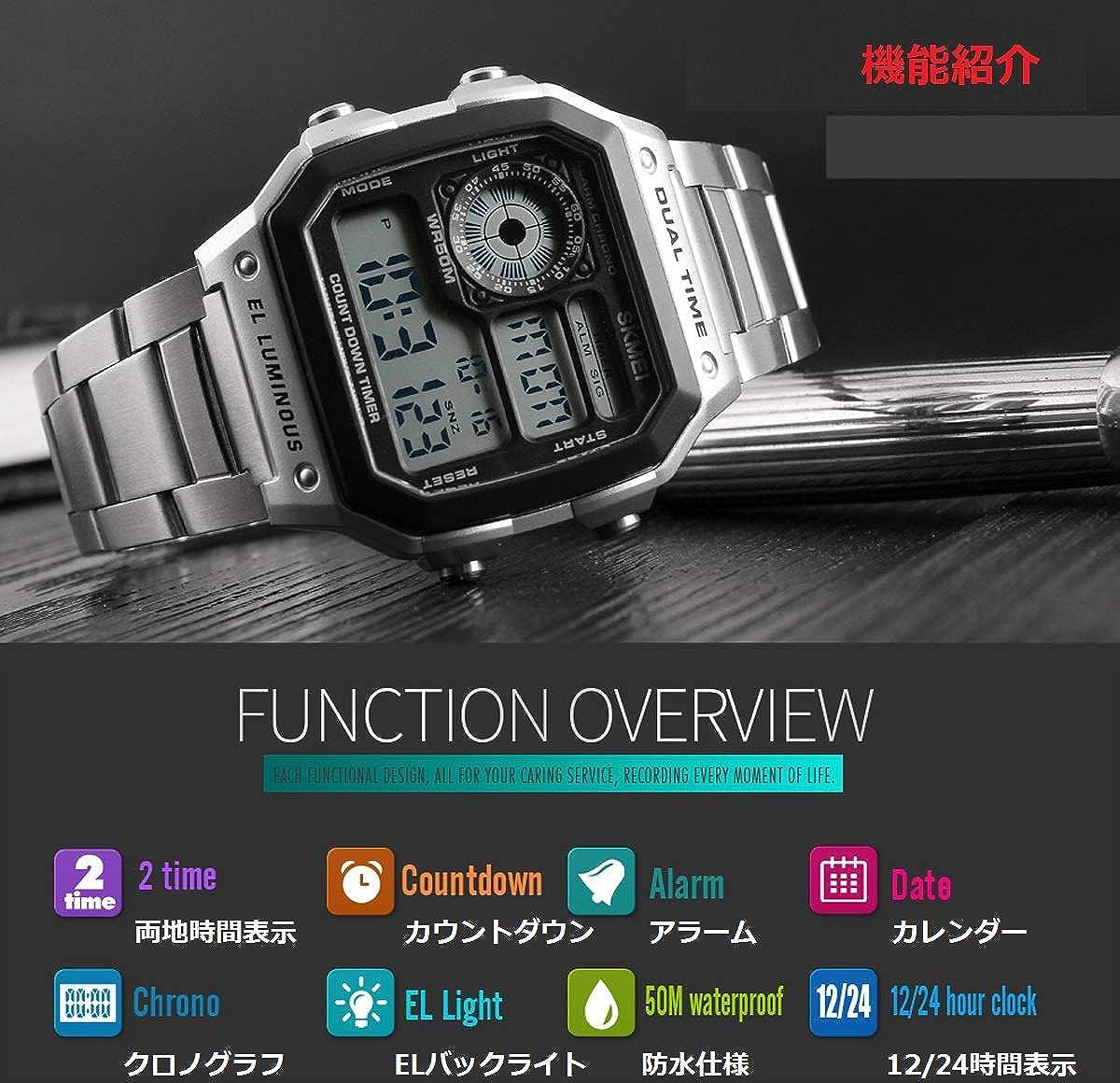 83619cd388 Amazon | 腕時計 ブランド メンズ メタルバンド 両地時間帯 デジタルウォッチ クロノグラフ 夜光 アラーム 防水 目ざまし時計 時報機能  人気 | メンズ腕時計 | 腕時計 ...