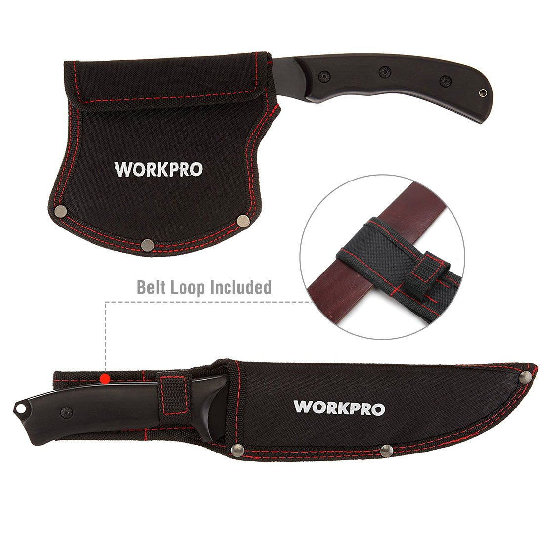 WORKPRO Axe and Fixed Blade Knife Combo Set Full Tang Wood Handle for Outdoor Camping Survival Hunting, Nylon Sheath Included by WORKPRO (Image #4)