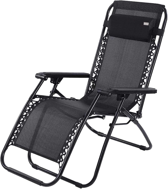 Aktive 62189 - Tumbona Gravedad Cero negra, reclinable y plegable Beach 65x178x110 cm