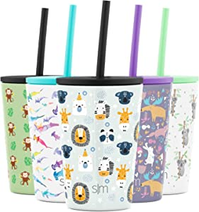 Simple Modern Kids Cup 12oz Classic Tumbler with Lid and Silicone Straw - Vacuum Insulated Stainless Steel for Toddlers Girls Boys Wild Zoo