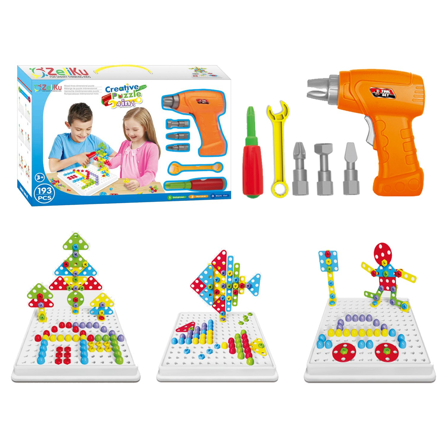 Educational Design and Drill toy Building toys set - 193 Pcs with board game STEM Learning Construction creative playset for 3, 4, 5+ Year Old Boys & Girls Best Toy Gift for Kids Ages 3yr – 6yr & up Review