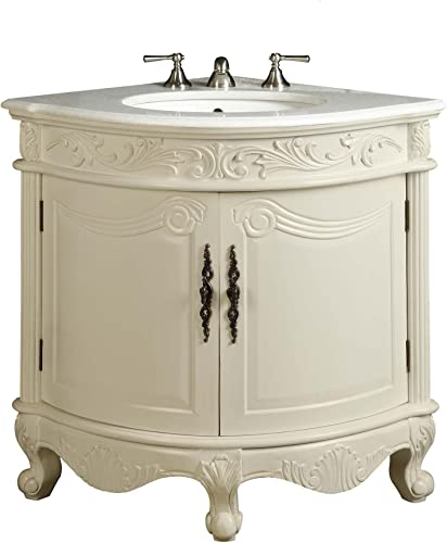Benton Collection Antique White Bay-View Corner Bathroom Sink Vanity Model BC030W-AW