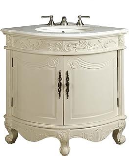 Antique White Bay View Corner Bathroom Sink Vanity Model BC030W AW