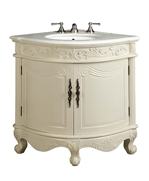 Beau Antique White Bay View Corner Bathroom Sink Vanity Model BC030W AW