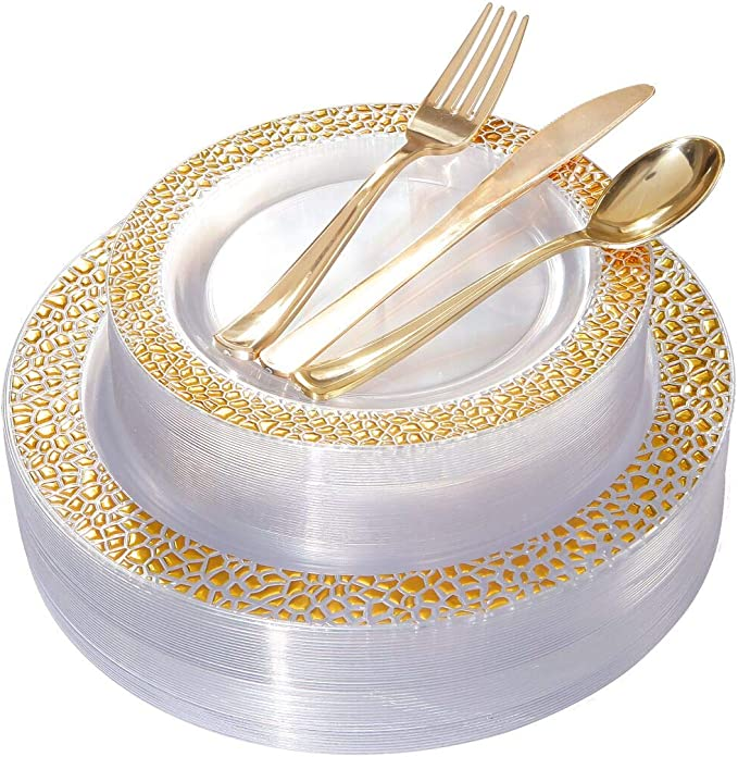 BUCLA 25 Guest Clear Gold Plastic Plates with Disposable Plastic Silverware, Hammered Design Plastic Tableware include 25 Dinner Plates,25 Salad Plates,25 Forks, 25 Knives, 25 Spoons