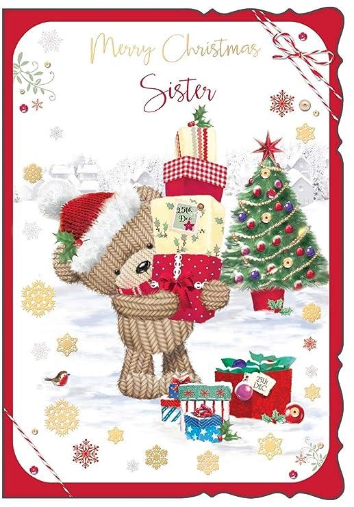 Tarjeta de Navidad para Hermana Galore Online, diseño de Oso ...