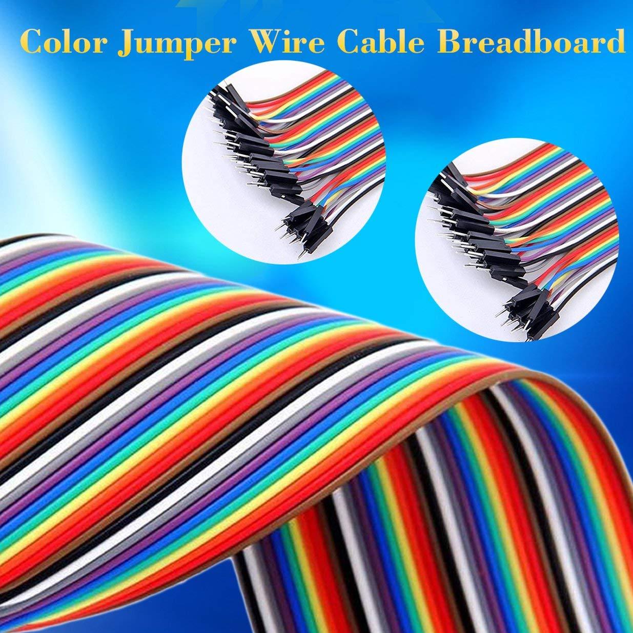 Sairis Cable de Placa de Prueba de 40 Pines Cable de Cable de Puente con encabezados de Pasador de separaci/ón de 2,54 mm Placa de Prueba de 20 cm para Arduino