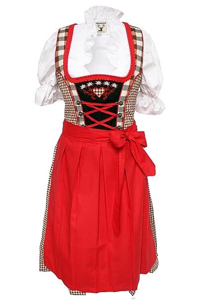 ... Traje Tradicional vestido, blusa, delantal, color marrón de color rojo (disponible en varios tamaños) Marrón-Rojo 38 : Amazon.es: Ropa y accesorios