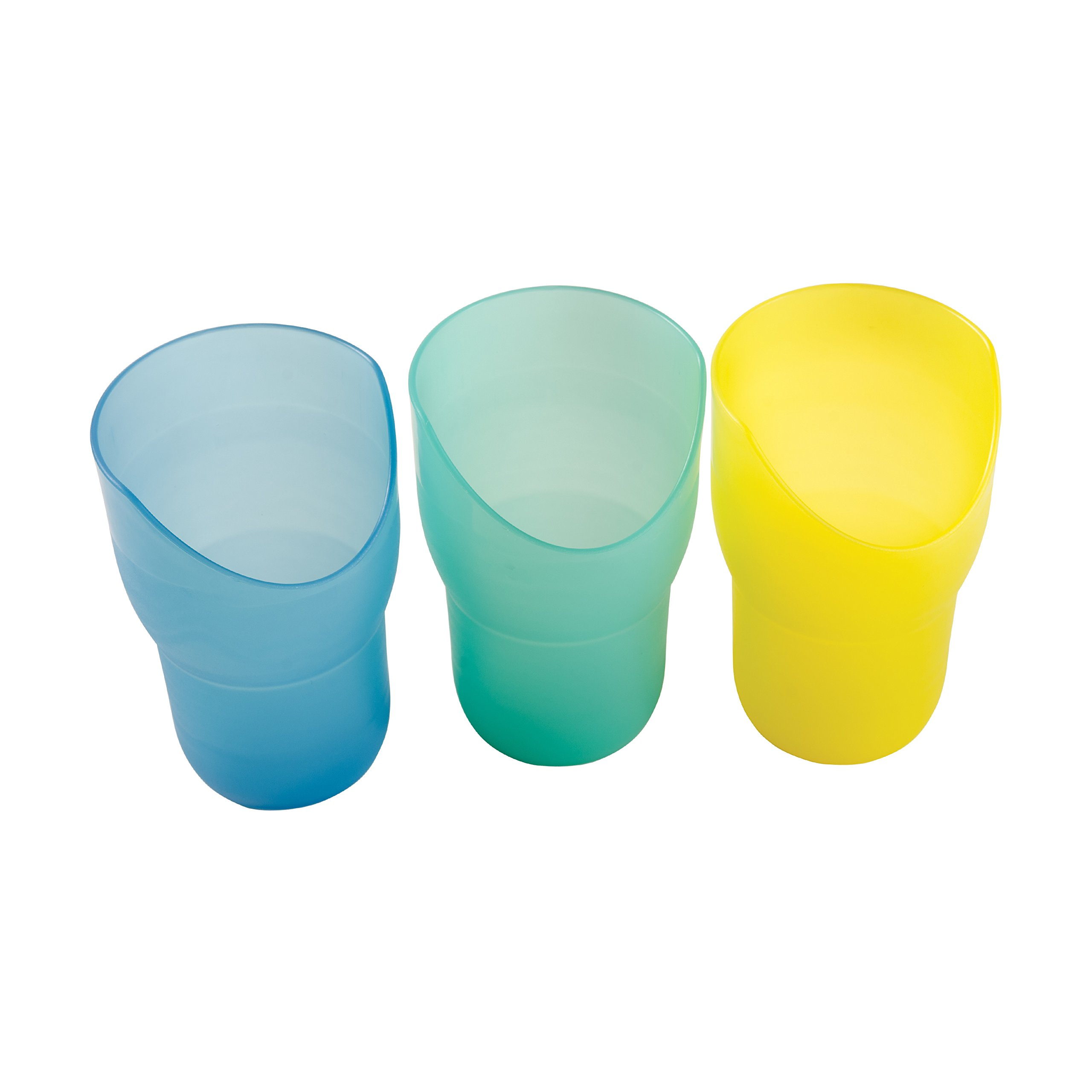 HealthSmart Nosey Drinking Cups Combo Set, 8 ounces, Set of 3, Yellow, Green and Blue