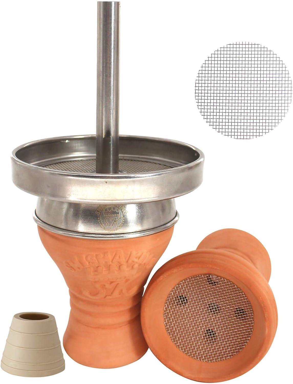 King® Shisha King® Cabeza de shisha Premium Tonkopf Kaminkopf Set + accesorios - V2A Kaminaufsatz + Kopfdichtung + Gratis Edelstahlsieb - mucho humo ✓ intenso sabor ✓