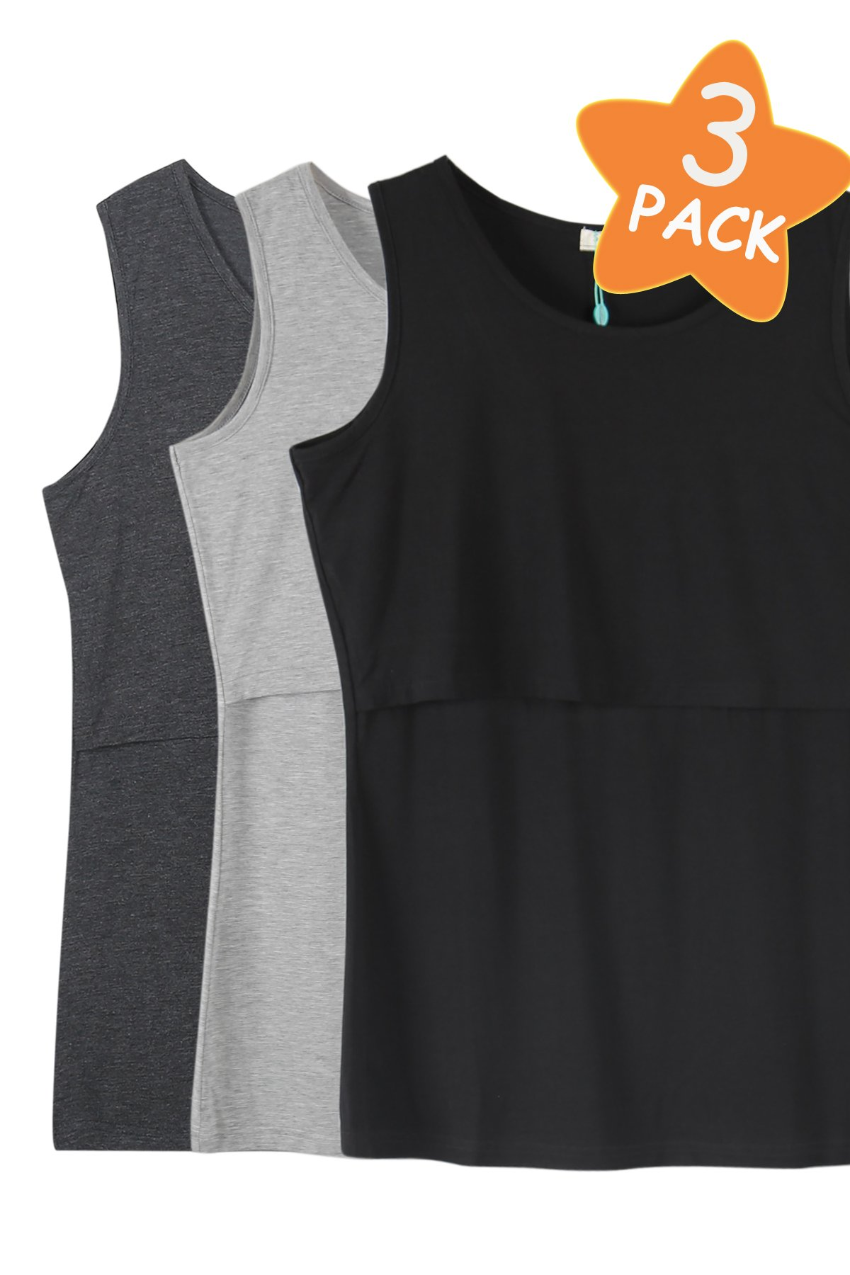 Smallshow Women's 3 Pack Sleeveless Maternity Nursing Tank Tops Large,Deep Grey-Black-Grey