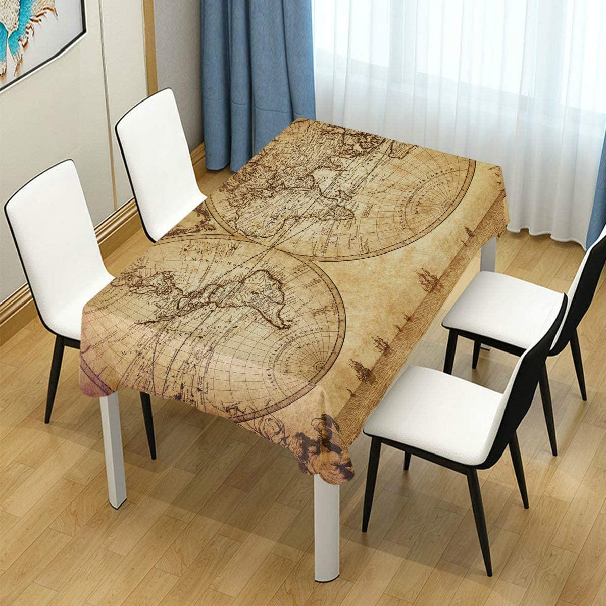 Amazon Com Helvoon Retro Old World Map Rectangle Tablecloth Wedding Party Dining Room Picnic Kitchen Washable Table Cover 60 W X 108 L Inches Home Kitchen
