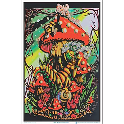 (24x36) Mushroom Caterpillar Fantasy Flocked Blacklight Poster Art Print: Alice In Wonderland Caterpillar Poster: Posters & Prints