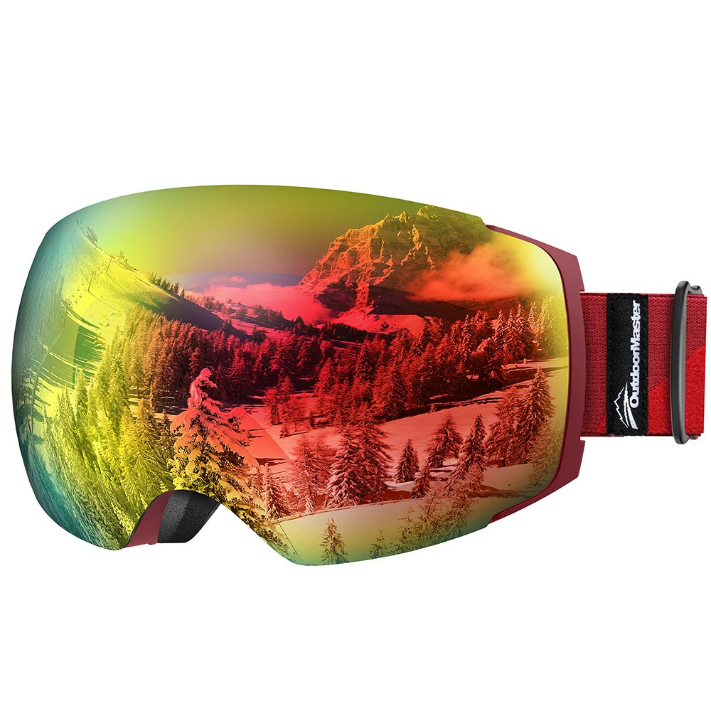 OutdoorMaster Ski Goggles PRO - Frameless, Interchangeable Lens 100% UV400 Protection Snow Goggles for Men & Women ( Red Frame VLT 15% Red Lens and Free Protective Case ) by OutdoorMaster