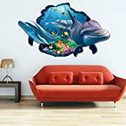 Wowall Home Decor Halloween Horrible 3D Aquarium Ocean Underwater Sea World Dolphin Broken Wall Fish Poster Wall Stickers (C)