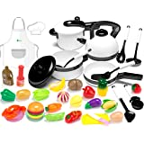 KIDPAR 36Pcs Play Kitchen Set for Kids, Pretend Cooking Kit Including Pots and Pans,Cutting Play Food, Chef's Apron and Other