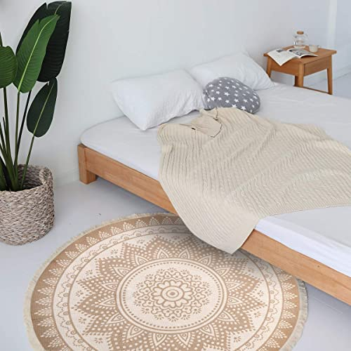 LEEVAN Round Area Rug,Hand Woven Cream Chic Bohemian Mandala Print Tassels Door Mat,Indoor Floor Area Mats Compatible Bedroom,Living Room,Children Playroom,Coffee
