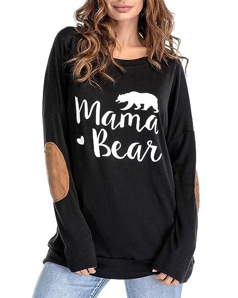 f263b0fe914 Sundray Women s Mama Bear t Shirt Round NeckTops Letter Print Tunics Villus  Patch Blouse Black S