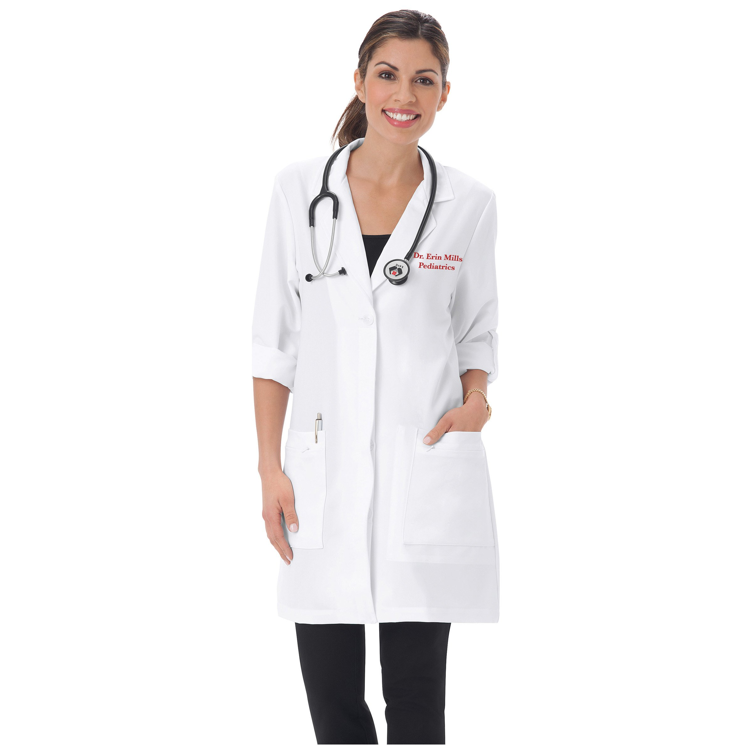 Embroidered Pro by Meta Labwear Women's 33'' Style 858 Lab Coat (Size 12)