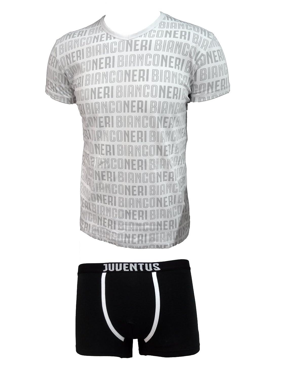 coordinato ragazzo boxer + t-shirt scollo V cotone elasticizzato JUVENTUS prodotto ufficiale juve art. JU12055 (14 anni, bianco)