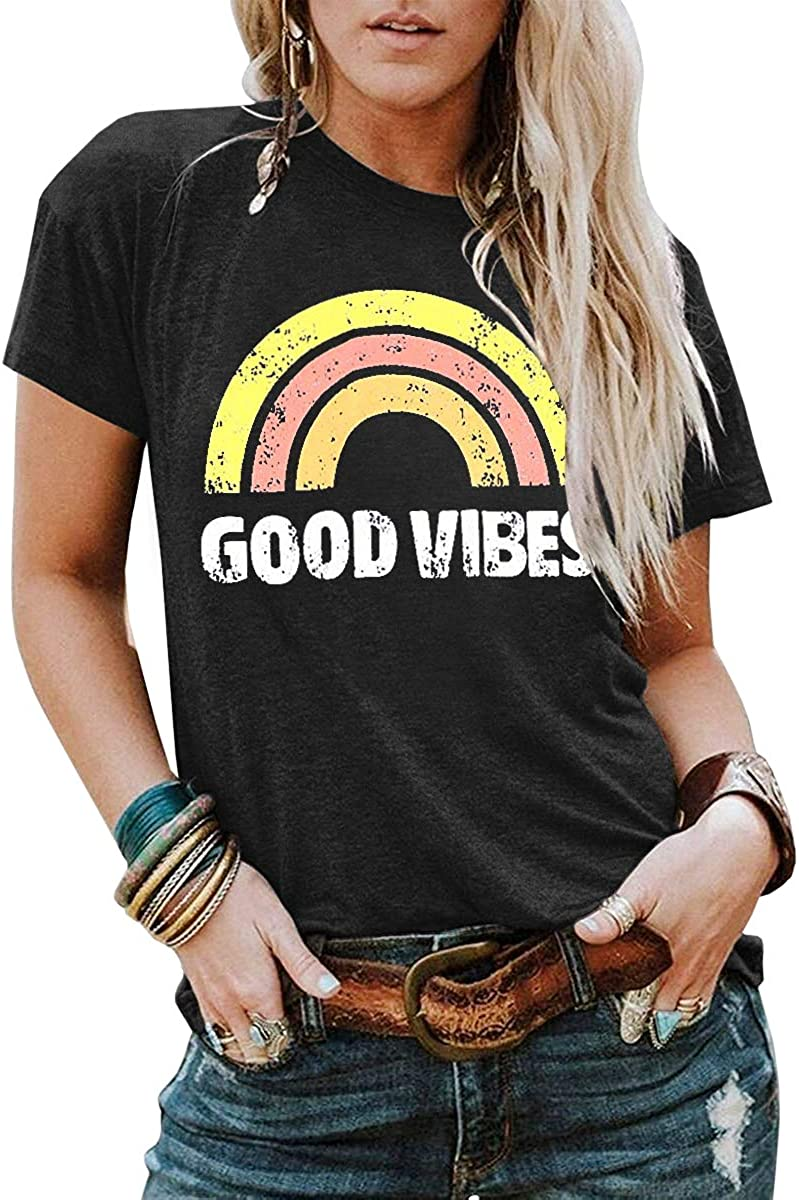 YEXIPO Womens Graphic Tees Good Vibes Shirt Short Sleeve Funny T Shirts Rainbow Print Cute Summer Tops