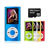 MYMAHDI - Digital, Compact and Portable MP3 / MP4 Player ( Max support 64 GB Micro SD Card ) with Photo Viewer, E-Book Reader and Voice Recorder and FM Radio Video Movie in Dark Blue