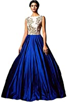 Palli Fashion Women's Bhagalpuri Silk Blue & White Semi - Stitched floor length Dress (Caddbury- Blue Gown_Free_Size)
