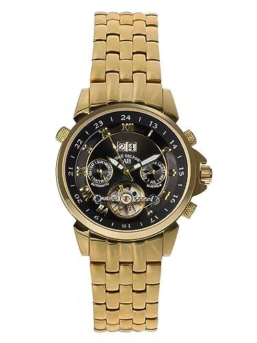 André Belfort 410134 - Reloj analógico de caballero automático con correa de acero inoxidable dorada - sumergible a 50 metros: Amazon.es: Relojes