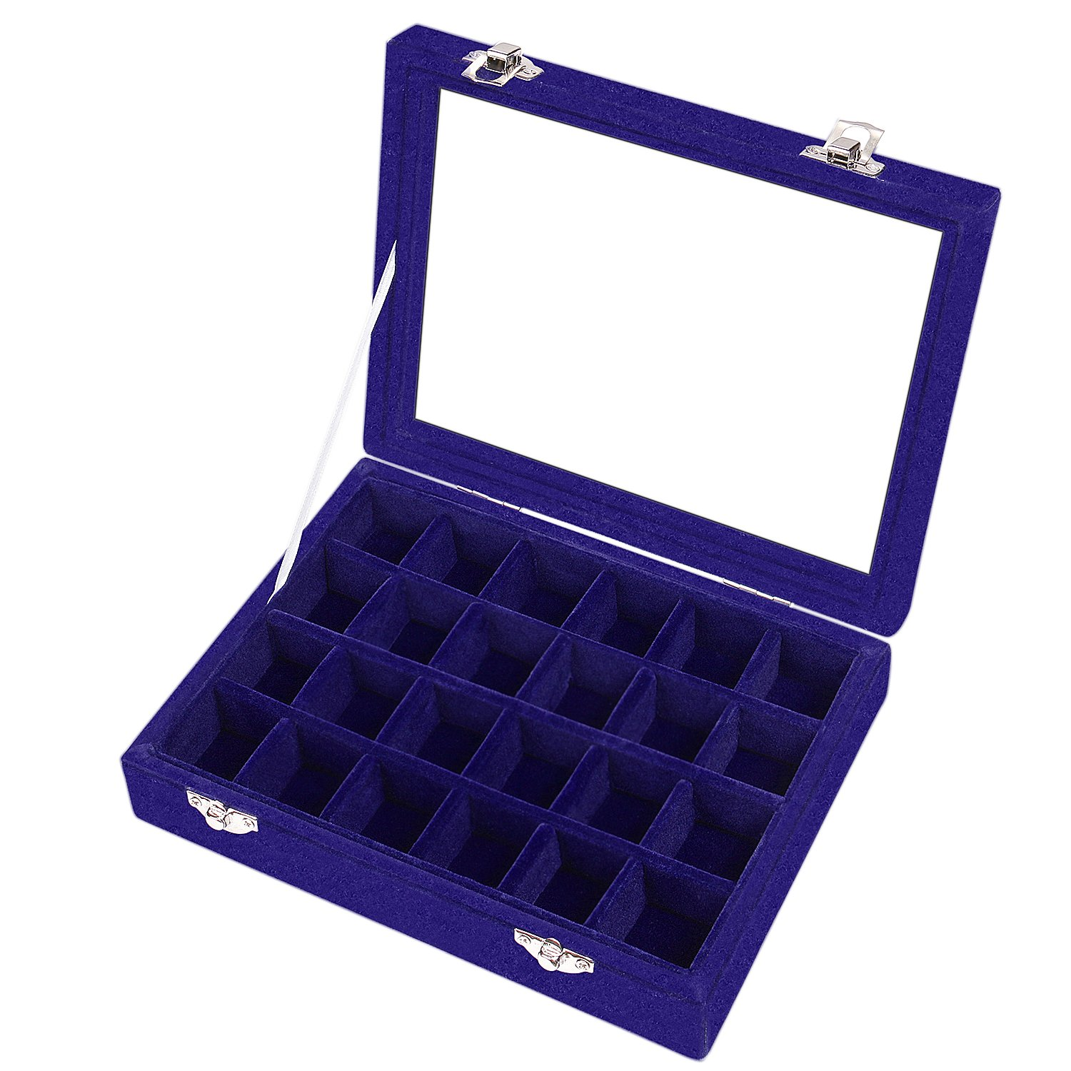 Basuwell 24 Grid Velvet Jewelry Tray for Drawers Glass Clear Lid Showcase Display Storage Ring Trays Holder Earrings Organizer Case-Blue