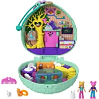Polly Pocket Hedgehog Cafe Compact, Café & Pet Theme, Micro Polly Doll & Friend Doll, 2 Animal Figures (1 Cat with Tail…