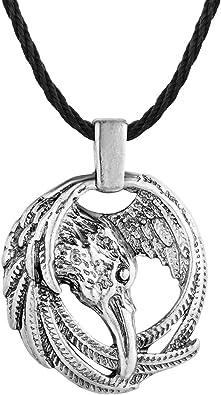 Chandler - Collar de cuervo nórdico + caja - Colgante de Odin Viking para hombres Coronas Thor Martillo Mjolnir: Amazon.es: Joyería