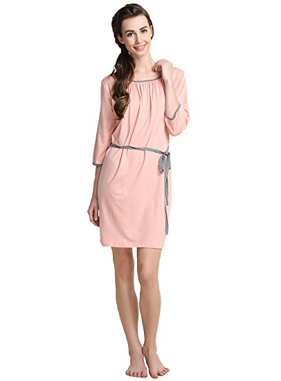 Suntasty Women s Cotton Sleep Shirt Knit Nightgown 3 4 Sleeve Nightshirt  Chemise (Pink 8b33e7187
