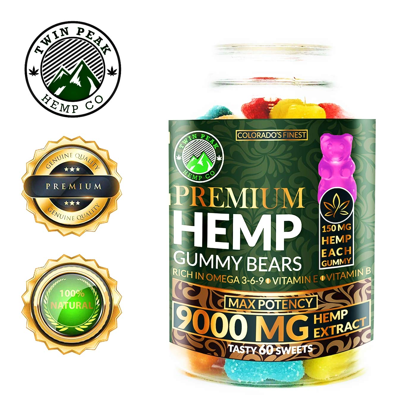 Hemp Gummies Premium 9000 Milligram High Potency – 150 Per Fruity Gummy Bear – Stress Relief, Inflammation, Pain, Restful Sleep, Anxiety, Rich in Omega 3-6-9. Vitamin E and Vitamin B