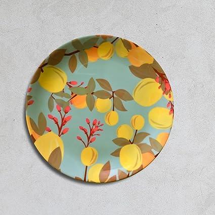 Cyahi - Succulent Pleasure - Wall Plates Ceramic Decor with Hook for Hanging. 7 Diameter