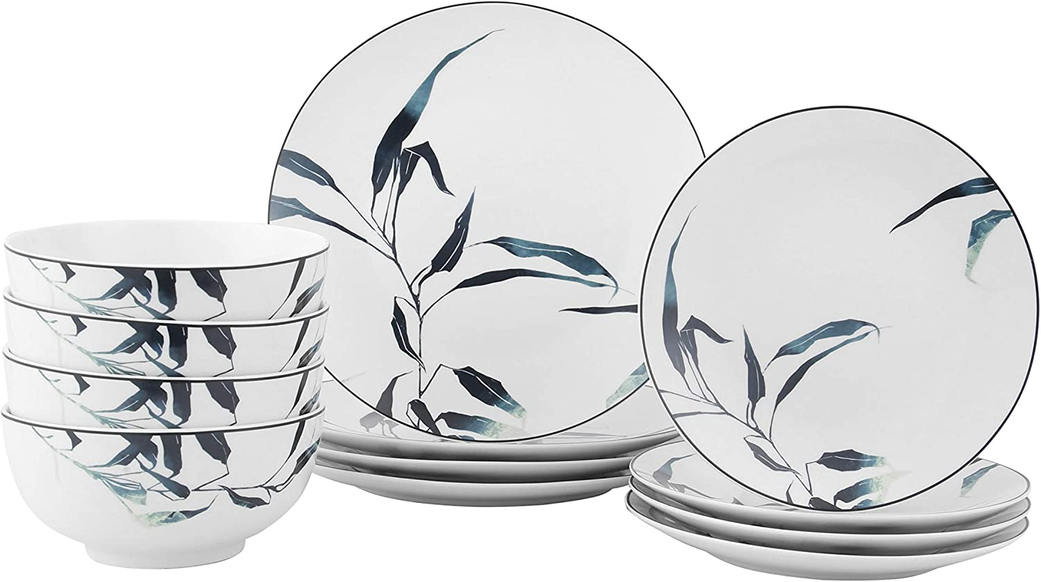 FIGULARK 12-Piece Dinnerware Set for 4 with Beautiful Leaves, Chip Resistant Kitchen Dishes Sets, Large Plates & Bowls for Dinner, Salad, Dessert …