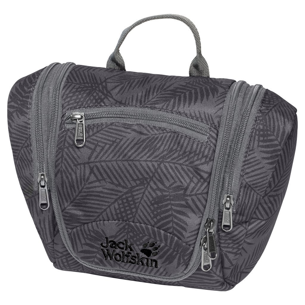 Jack Wolfskin Caddie Wash Bag Toiletry Bag Dopp Kit, Leaf Dark Grey