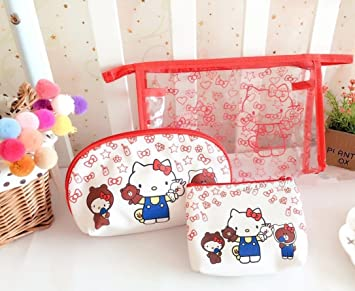 9d6d05ad95b2 Amazon.com   CJB Hello Kitty Cosmetic Makeup Bag Purse Coin Pouch 3in1 Set  Red (US Seller)   Beauty