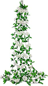dedoot Ivy Artificial Flowers, Pack of 6 (98 Inch Each) Ivy Garland Rose Vine Fake Silk Flowers Hanging Rose Ivy Plants for Wedding Party Home Garden Wall Decor, White
