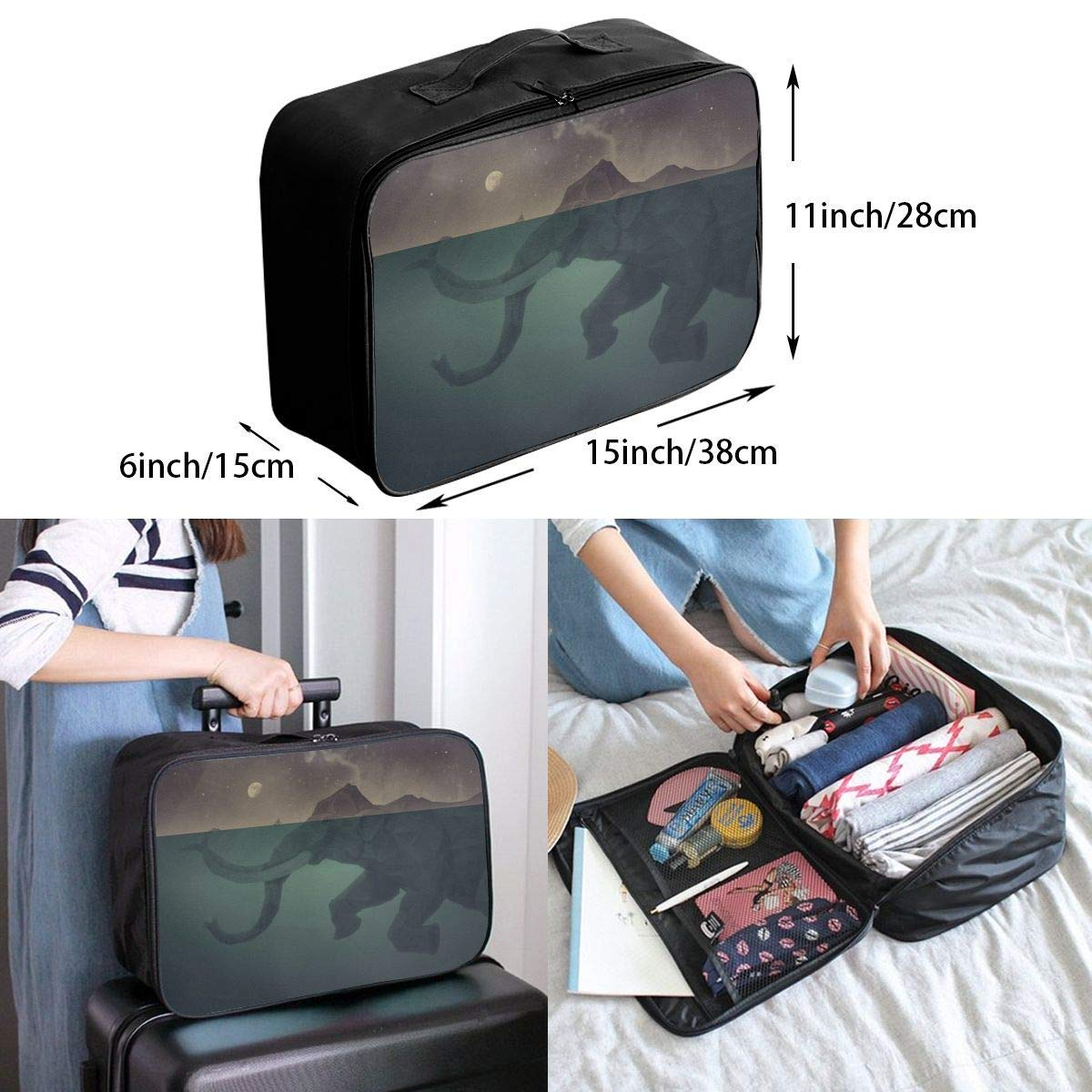 Lightweight Large Capacity Portable Duffel Bag for Men /& Women Ocean Stone Elephant Travel Duffel Bag Backpack JTRVW Luggage Bags for Travel