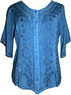 f6a879752a Agan Traders Women s Embroidered Scoop Neck Boho Short Sleeve Medieval  Renaissance Vintage Top Blouse