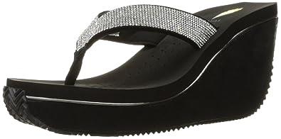 Volatile Women's Glimpse Wedge Sandal, Black/Silver, ...
