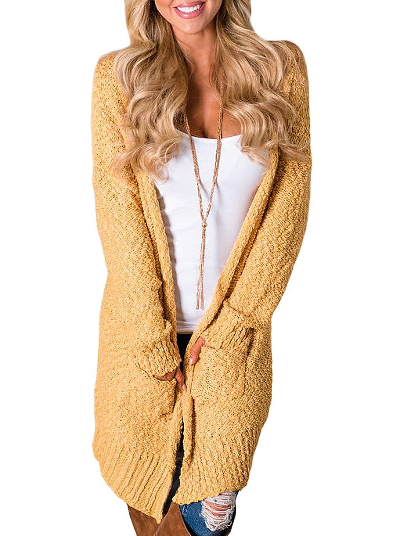 FIYOTE Damen Langarm Strickjacke Cardigan Sweaters Langarmshirt Pullover Tops 6 Farbe S/M/L/XL/XXL FYY27866